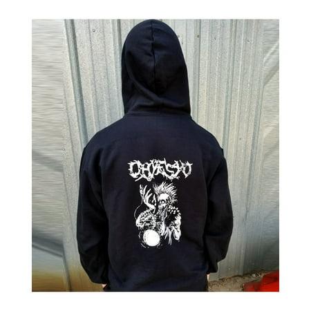 OHYESYO YoYo Company Black Hoodie- Zipper Logo Sweatshirt Jacket Hoody - by OH YES YO (Large)