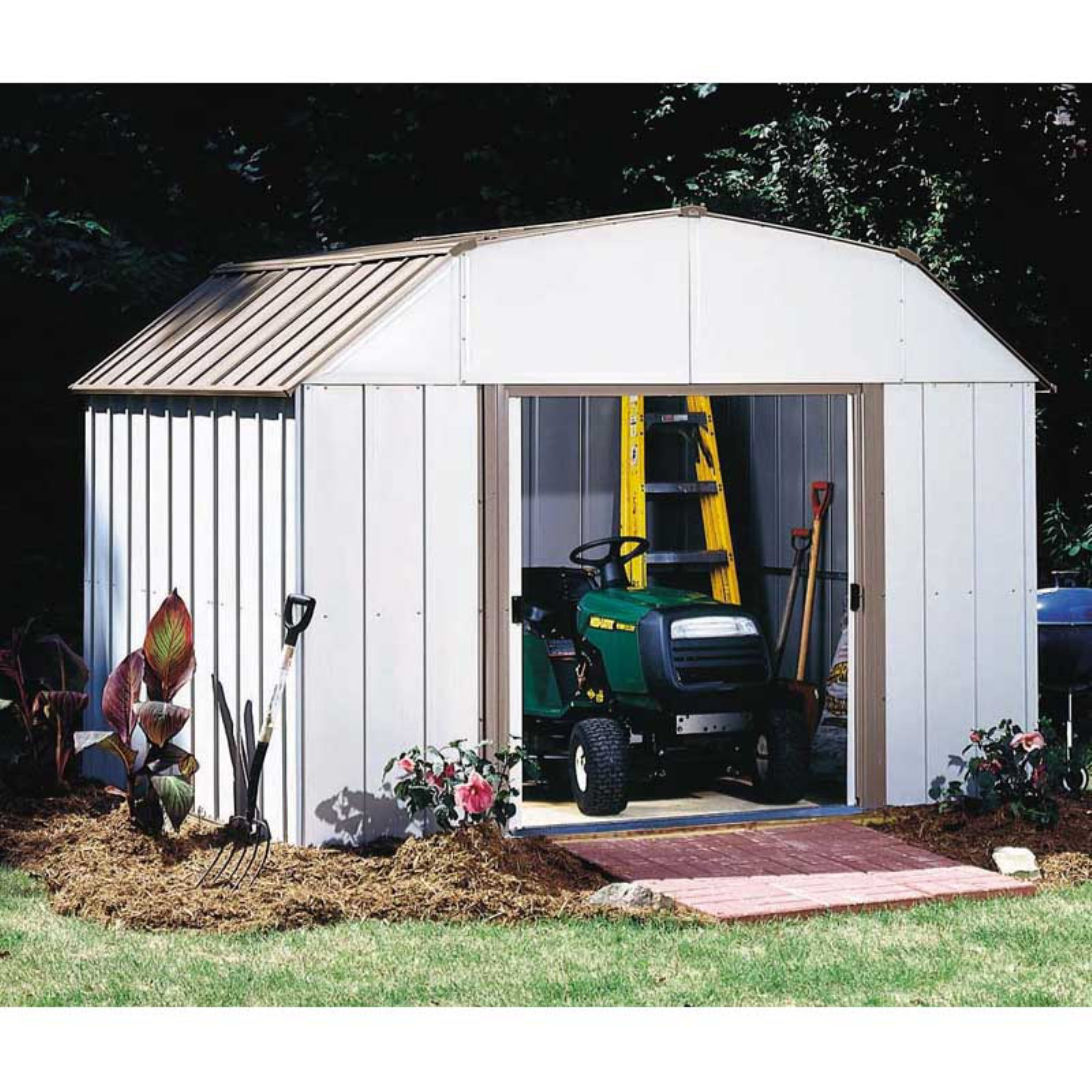 Lexington 10 x 8 ft. Steel Storage Shed Barn Style Taupe/Eggshell