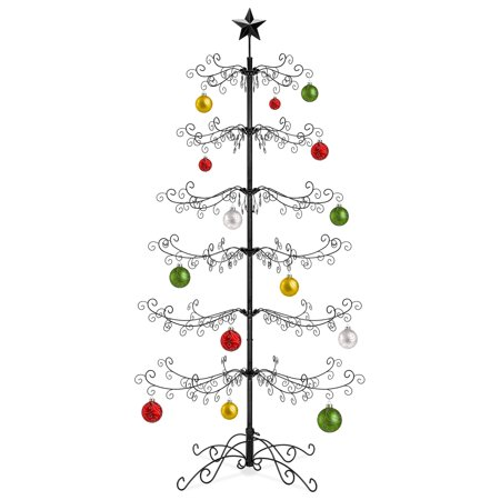 Best Choice Products 6ft Wrought Iron Ornament Display Christmas Tree w/ Easy Assembly and Stand ()