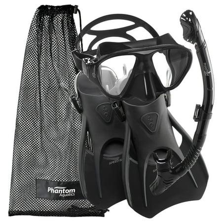 Phantom Aquatics Adult Signature Mask Fin Snorkel Set with Net Bag