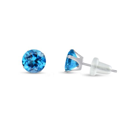Round 5mm 10k White Gold Genuine Swiss Blue Topaz Stud Earrings, December Birthstone, (1.12 (Polished Genuine Swiss)