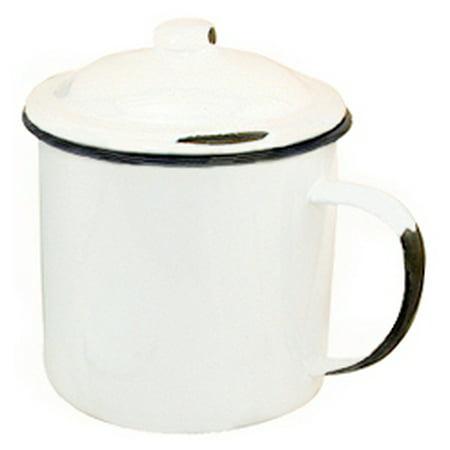"Enamelware Mug with Lid - 4"""