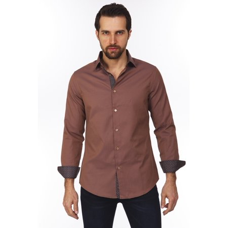 Suslo Couture Men's Bold Fashion Designer Printed Casual Long Sleeve Button Down Shirts with Trimmings