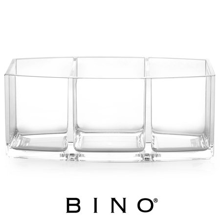 BINO 'Keep It Simple' 3 Compartment Acrylic Jewelry and Makeup Organizer, Clear and Transparent Cosmetic Beauty Vanity Holder