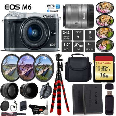 Canon EOS M6 Mirrorless Digital Camera (Silver) + EF-M 15-45mm Lens + UV FLD CPL Filter Kit + 4 PC Macro Kit + Wide Angle & Telephoto Lens + Camera (4 X Digital Zoom Model)