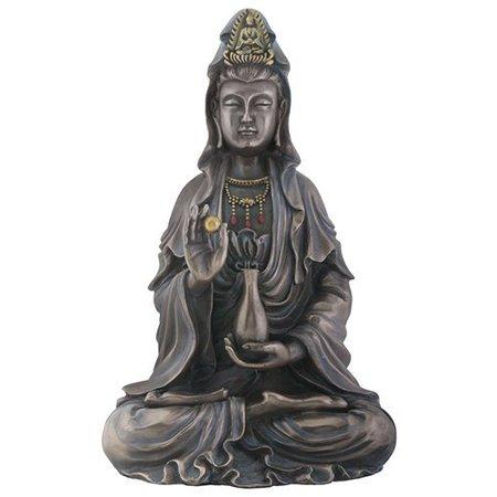 Seated Kuan Yin Statue - Antique Bronze Finish Kuan Yin Religious Shrine Decorative Statue