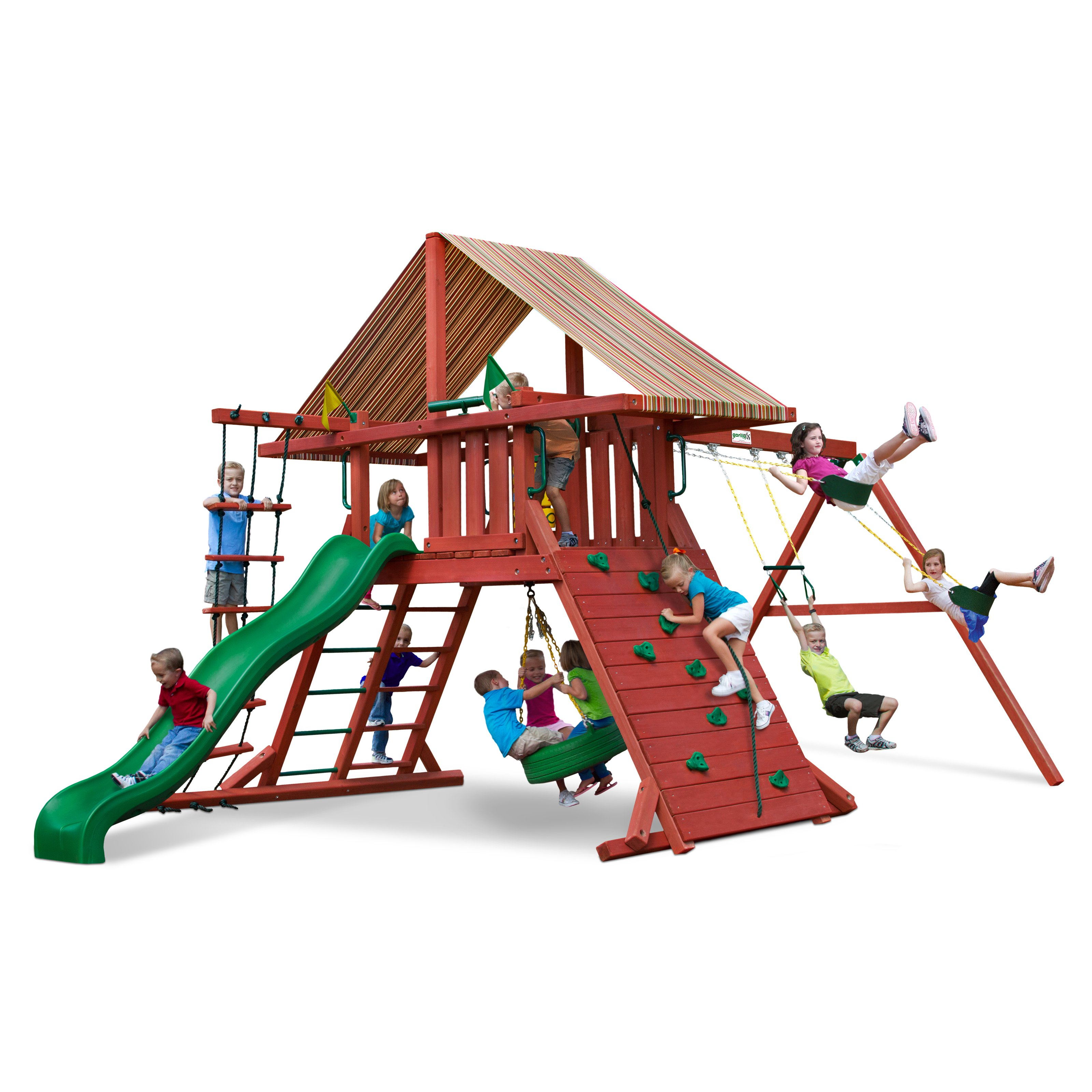 Gorilla Playsets Sun Climber I Wood Swing Set with Brannon Redwood Canopy