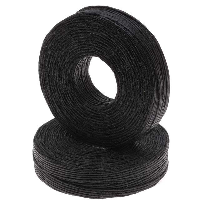 Waxed Irish Linen Necklace or Knotting Cord 1mm Black - 50 Yards