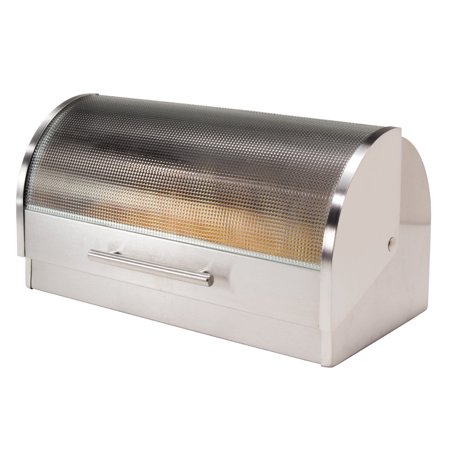 Oggi Stainless Steel Bread Box with Tempered Glass Roll Top (Oggi Roll Top Bread Box)