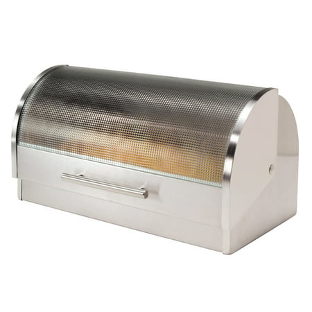 Stainless Bread - Oggi Stainless Steel Bread Box with Tempered Glass Roll Top Lid
