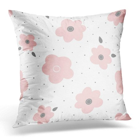 BSDHOME Gray Baby Cute Floral Abstract Flowers with Leaves and Polka Dots Girly Pink Bloom Pillow Case Pillow Cover 20x20 inch - image 1 de 1