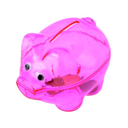 Miniature Translucent Pink Plastic Piggy Savings Money Coin Bank