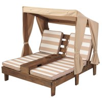 KidKraft Double Chaise Lounge with Cup Holders - Espresso & Oatmeal
