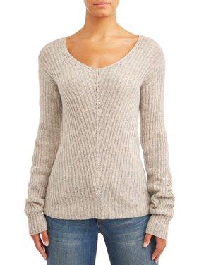Sofia Jeans V-Neck Confetti Ribbed Sweater Women's