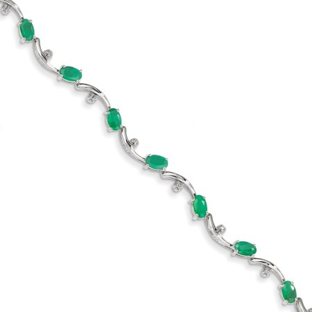 14K White Gold w/ Diamond and Emerald Gemstone Bracelet - image 2 de 2