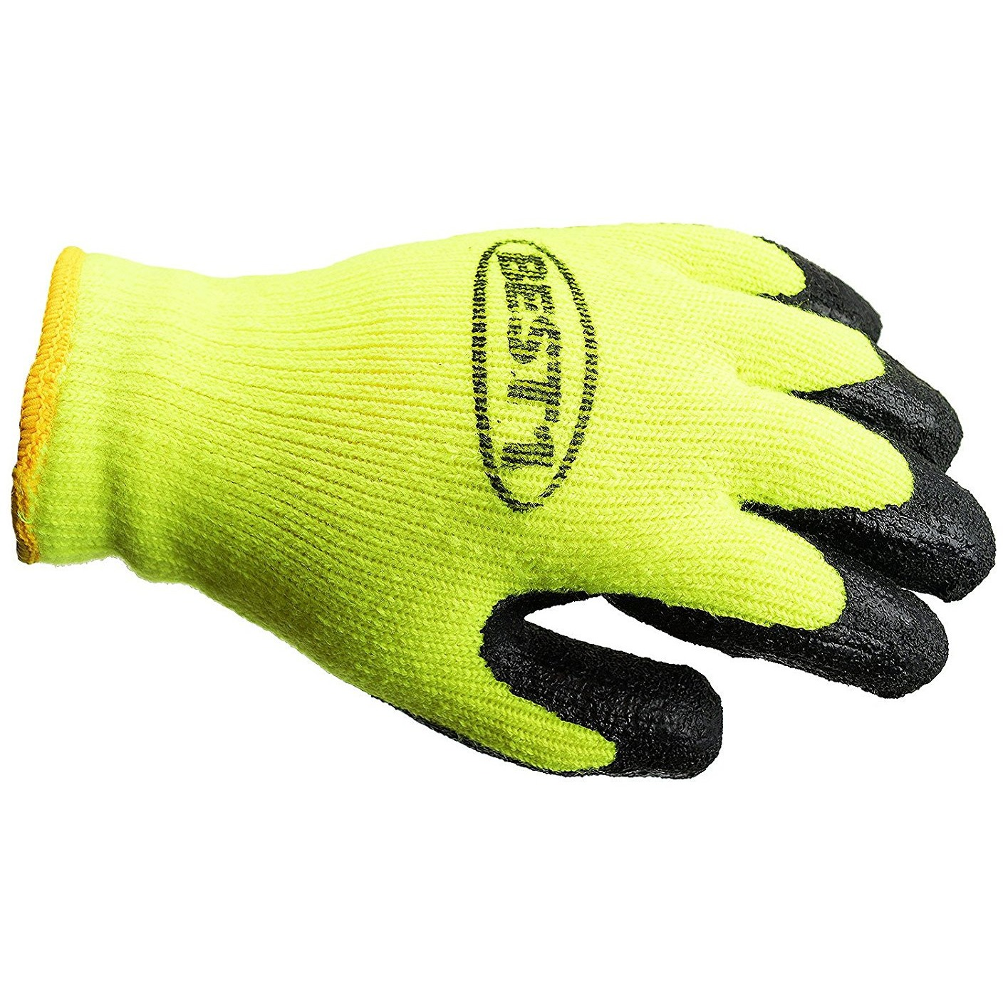 BEST1 Winter Insulated Rubber Latex Coated Work Gloves, Crinkle Pattern - Lime / Medium