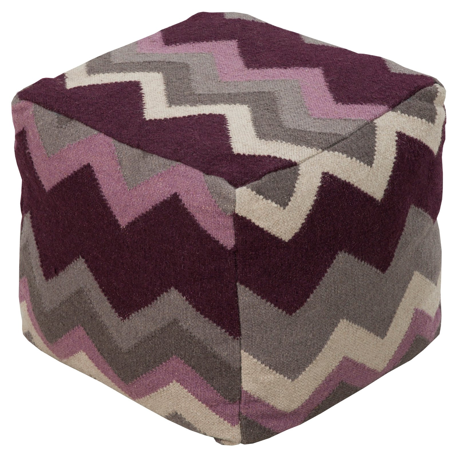 Surya 18 in. Cube Wool Pouf Deep Wine by Surya