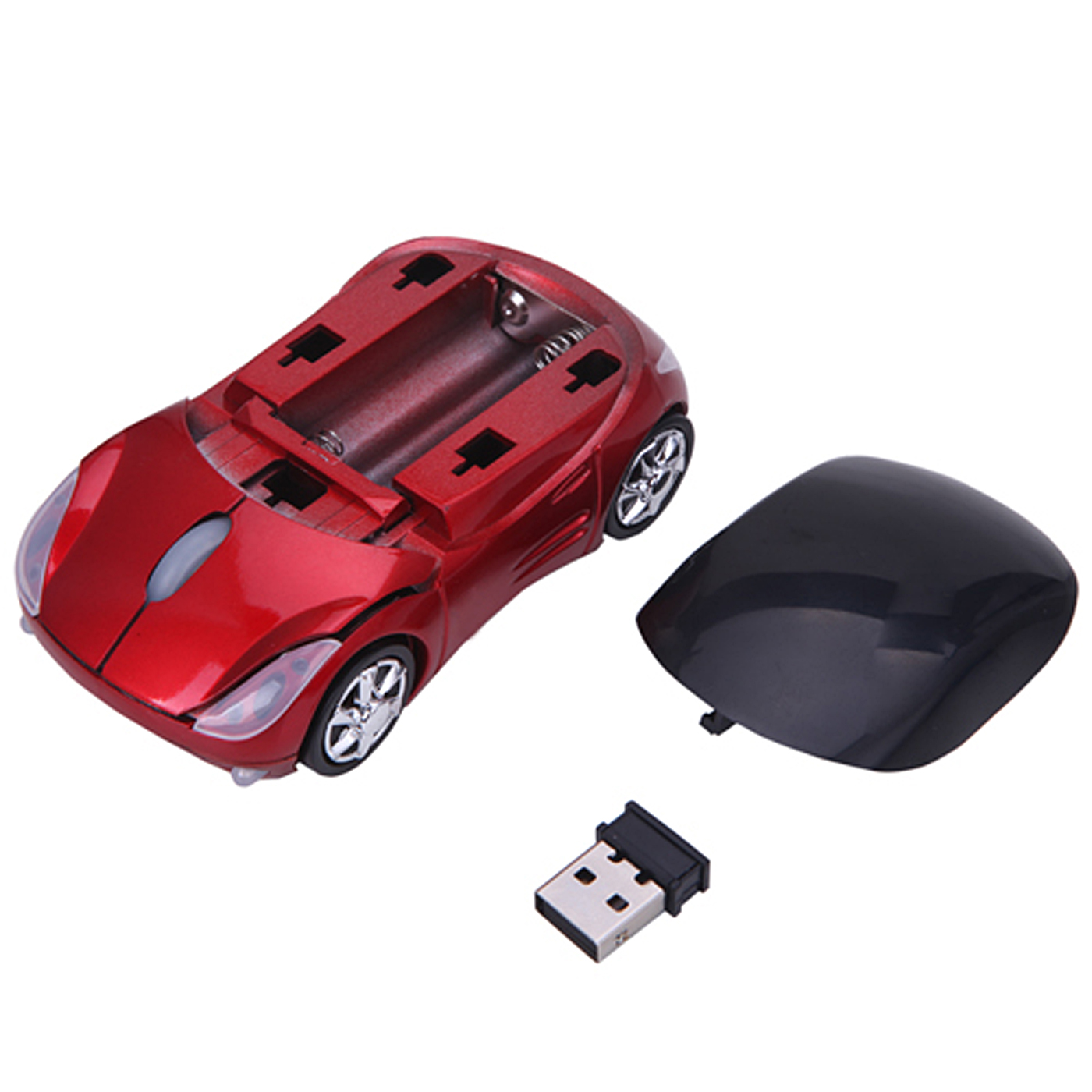HDE 2.4GHz Sports Car Shape Wireless Ergonomic Optical Mouse with Adjustable DPI (California Silver)