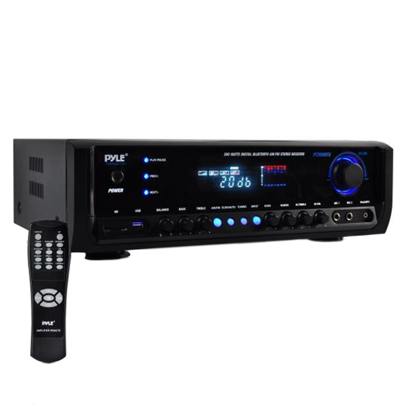 Home Theater BT Stereo Receiver, Aux (3.5mm) Input, MP3/USB/SD/AM/FM Radio, (2) Mic Inputs, 300 Watt