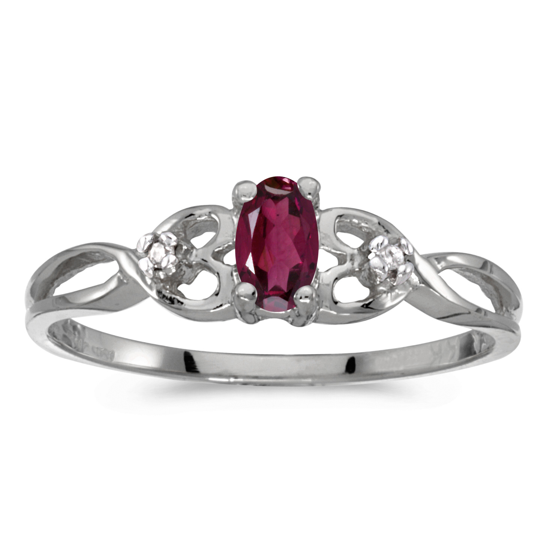 10k White Gold Oval Rhodolite Garnet And Diamond Ring by