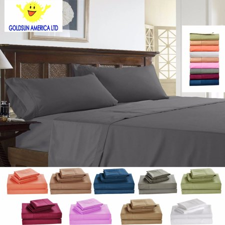 Goldsun Luxury Sheet Set - Deep Pocket - Super Soft Hotel Bedding - Cool & Wrinkle Free - 1 Fitted, 1 Flat, 2 Pillow Cases