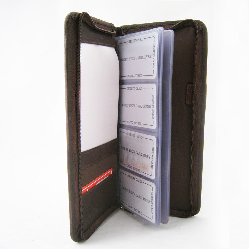 Genuine Leather Business Card Holder 160 Cards Organizer Book IDs ...