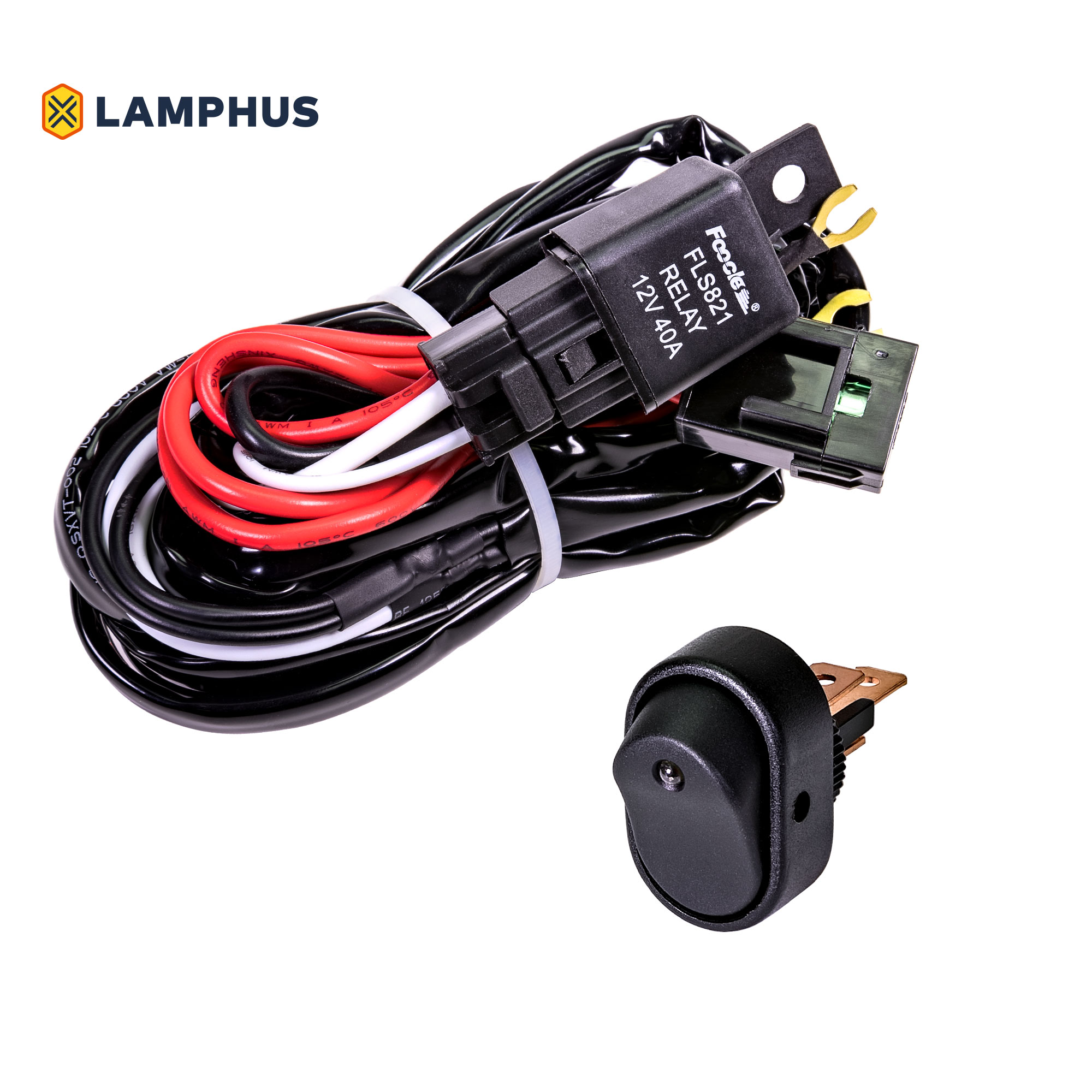 LAMPHUS ORWH04 Off Road Light Bar Wiring Harness Set - AMBER Mini On/Off Switch