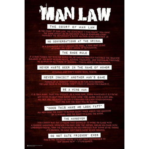 Man Law Rules Cave Court Funny Poster 24x36 Inch Walmart Com Walmart Com