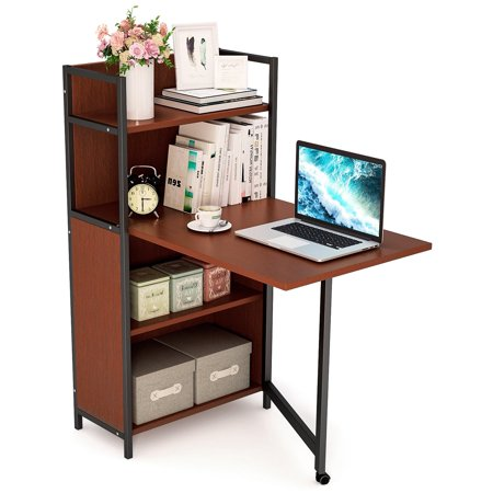 Tribesigns Folding Computer Desk with Bookshelves, L shaped Study Writing  Desk with Storage Shelves for Small Space, Teak