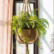 "41"" Macrame Braided Plant Hanger Hanging Planter Basket Jute Rope Pot Holder Home Garden"