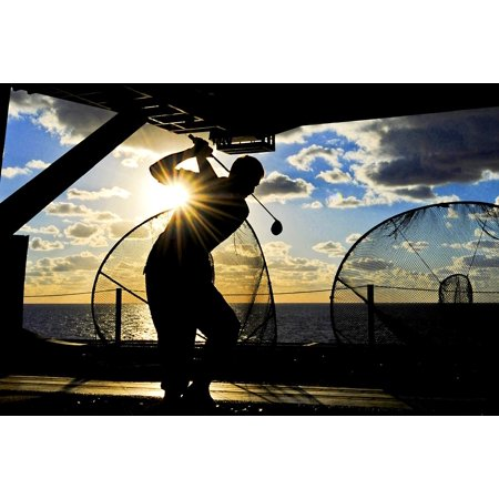 Club Ship (LAMINATED POSTER Sea Ship Club Silhouette Sunset Practice Golfer Poster Print 24 x 36)