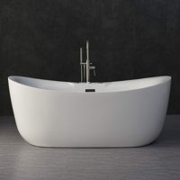"""WoodBridge 71"""" x 32"""" Freestanding Bathtub Whirlpool Water Jetted and Air Bubble, B-0034 / BTS1611"""