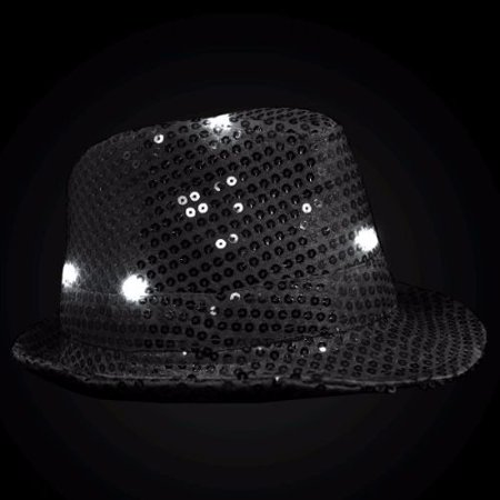 LED Flashing Fedora Hat with Black Sequins - Sequin Fedora