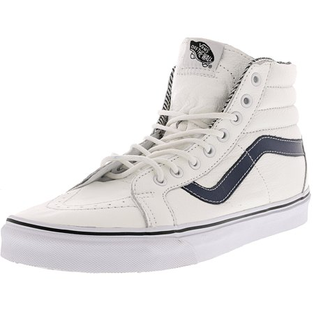 Vans Men's Sk8-Hi Reissue Leather White / Stripes High-Top Skateboarding  Shoe - 10M