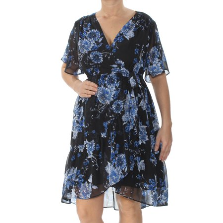 INC Womens Blue Floral Short Sleeve V Neck Above The Knee Faux Wrap Dress  Size:
