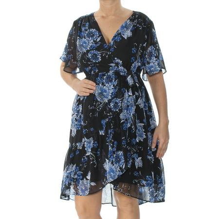Blue Floral Dress (INC Womens Blue Floral Short Sleeve V Neck Above The Knee Faux Wrap Dress  Size: L)