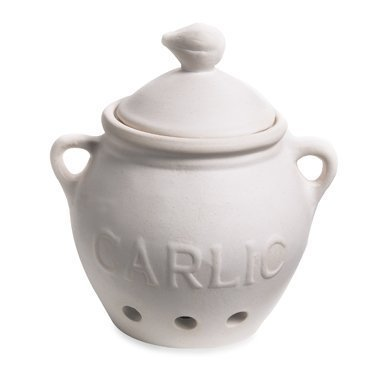 HIC Garlic Clove Keeper, Vented Ceramic Storage Container with Lid, White, 5.25-Inch by 5.5-Inch