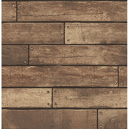 Brewster Weathered Brown Nailhead Plank Wallpaper ()