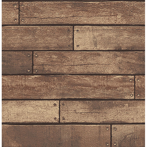 Weathered Brown Nailhead Plank Wallpaper