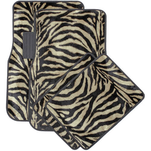 OxGord Front & Back Seat Zebra/Tiger Stripe Carpet Mats for for Car/Truck/Van/SUV