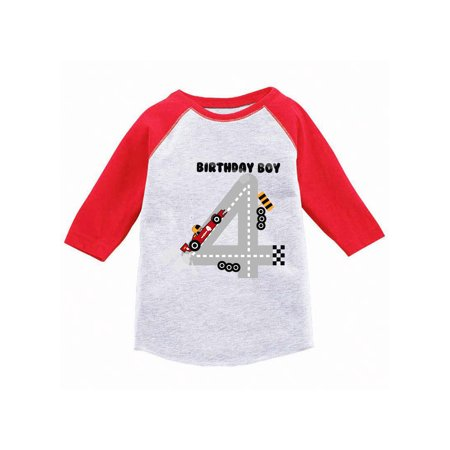 Awkward Styles Birthday Boy Race Car Toddler Raglan Boys Race Car Birthday Party Birthday Gifts for 4 Year Old 4th Birthday Jersey Shirt Fourth Birthday Raglan Shirt Race Car Shirt for Birthday Boy (Gifts For 4 Year Olds)