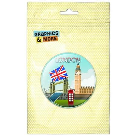 London England UK Big Ben Bridge Pinback Button Pin Badge ()