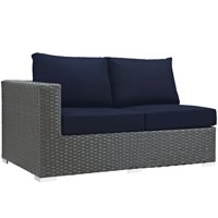 Modern Contemporary Urban Design Outdoor Patio Balcony Left Arm Loveseat Sofa, Navy Blue, Rattan
