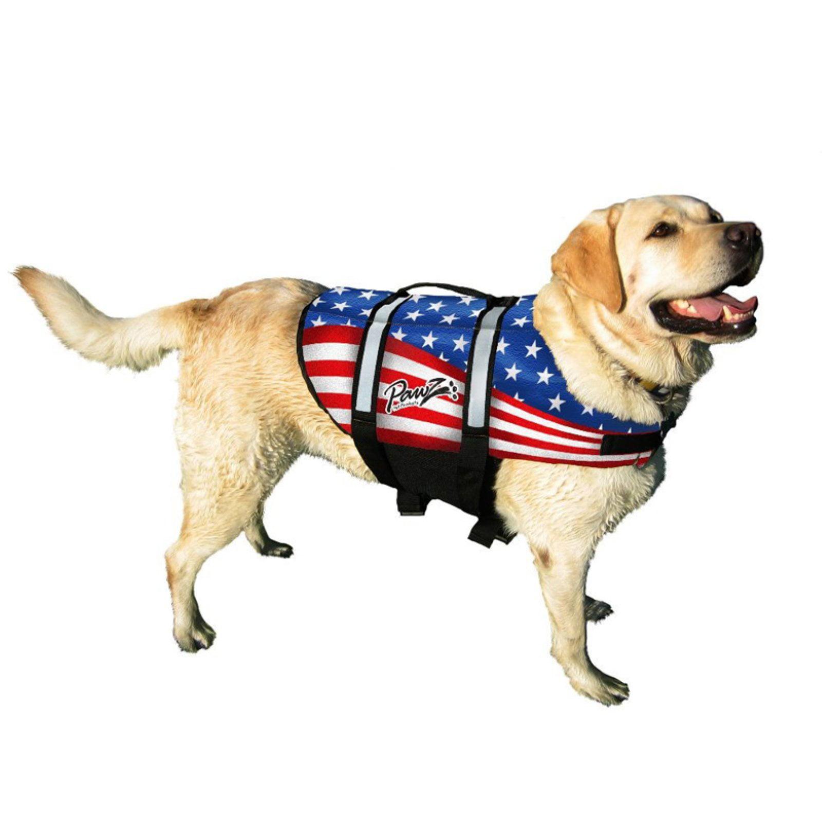Pawz Pet Products Nylon Dog Life Jacket, Extra Large, Flag