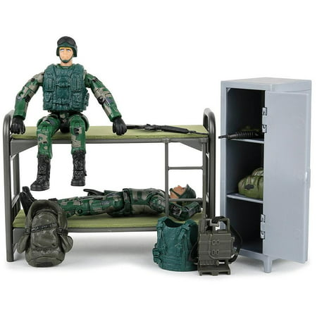 Click N' Play Military Life Living Quarters Bunk Bed 14 Piece Play Set With Accessories for $<!---->