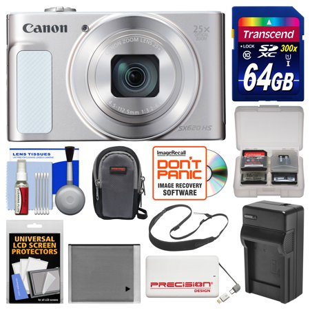 Canon Powershot Sx620 Hs Wi Fi Digital Camera  Silver  With 64Gb Card   Case   Battery   Charger   Power Bank   Sling Strap   Kit