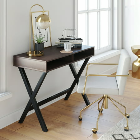 Kalos Home Office Computer Desk or Console Table, For Small Spaces Rustic Espresso Brown and Black Wood