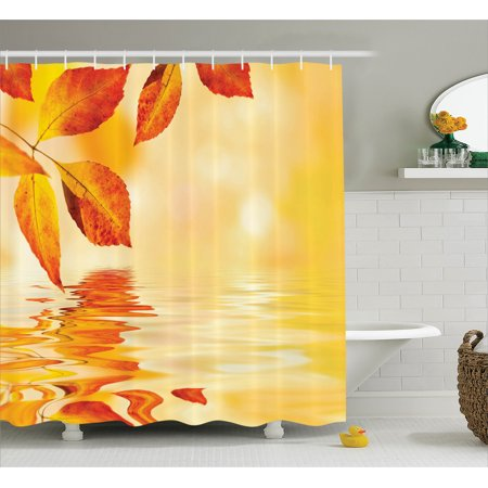 Orange Shower Curtain Set Autumn Maple Leaves Shadow On The Water With Mystic Magical Sun