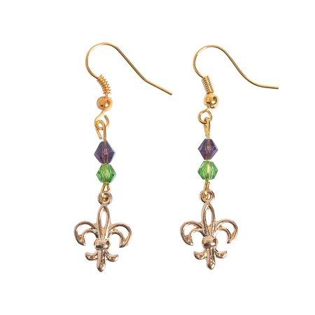 Fun Express - Fleur De Lis Earring Wire ck for Mardi Gras - Craft Kits - Adult Jewelry Craft Kits - Adult Earring - Mardi Gras - 6 Pieces (Oriental Trading Company Mardi Gras)