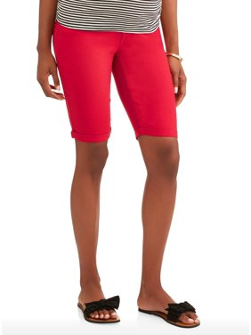 7e73252546f5e Product Image Oh! Mamma Maternity Full Panel Twill Bermuda Shorts with 5  Pockets and Roll Cuffs-